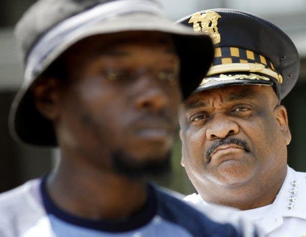 Chicago Police Superintendent Eddie Johnson, right