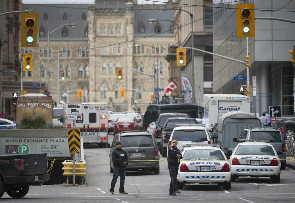 Police fill street in Ottawa.