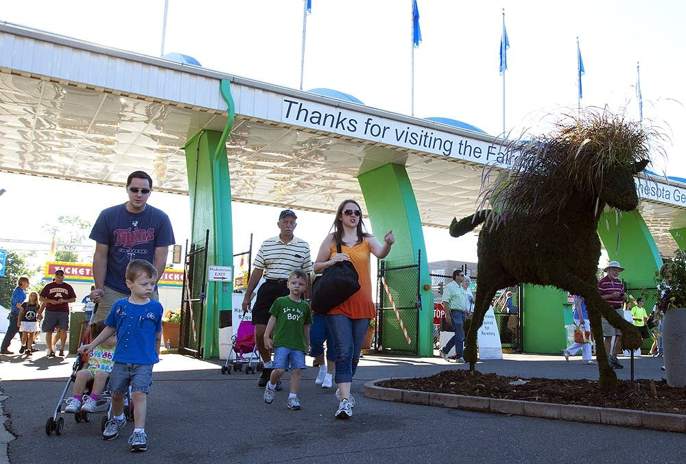 Visitors arrive at the state fair
