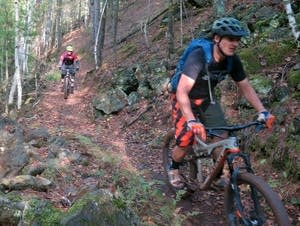 Aaron Hautula and John Schaubach mountain bike