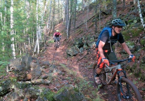 Aaron Hautula and John Schaubach mountain bike