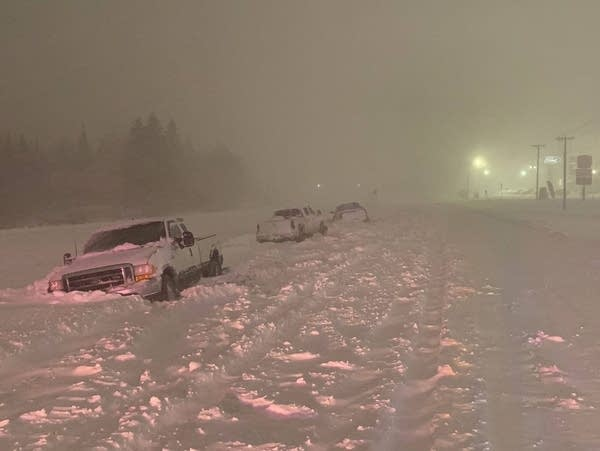 Vehicles are stranded along Highway 33 in Cloquet