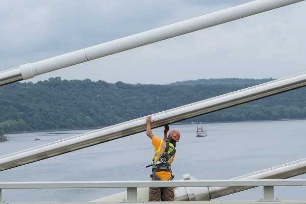 A boat approaches the St. Croix Crossing.