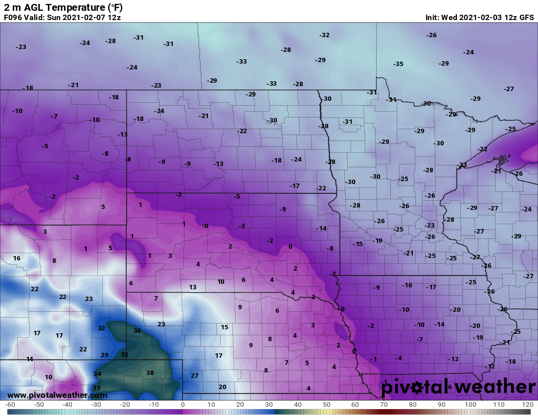 NOAA GFS temperature forecast for 6 am Sunday, February 7