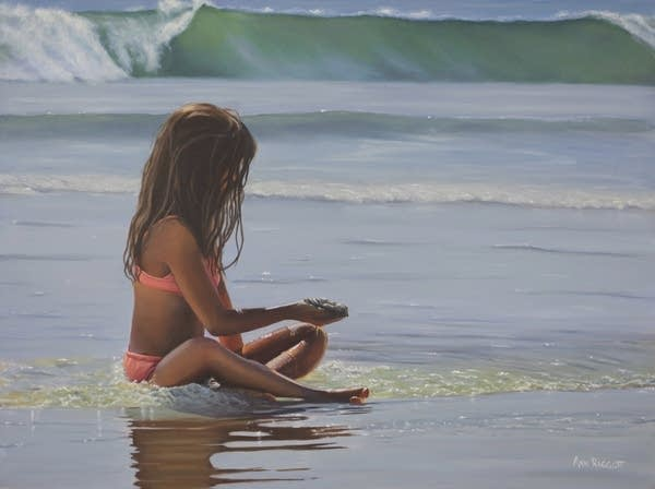 A painting of a child sitting on a beach.