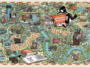 A map of Twin Cities bookstores by illustrator Kevin Cannon