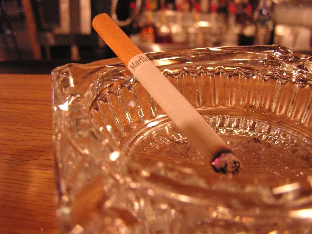 An ashtray in use
