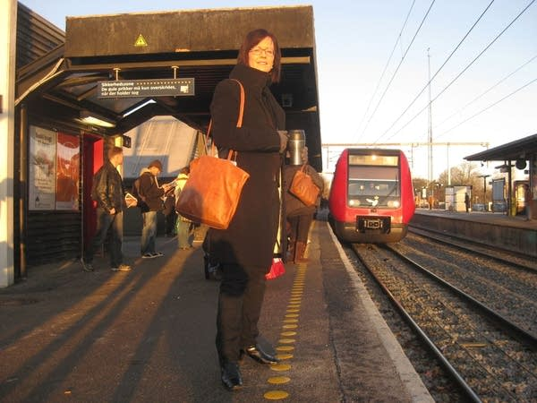 Michelle Cumming Lokkegaard at the train station.