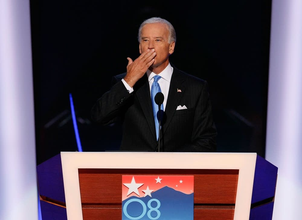Joe Biden takes the stage at the DNC