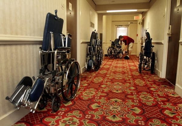 Collecting wheelchairs at the Kahler Grand Hotel