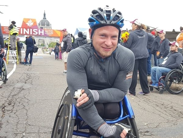 Matthew Porterfield wins the Wheeler Division of the Twin Cities Marathon.