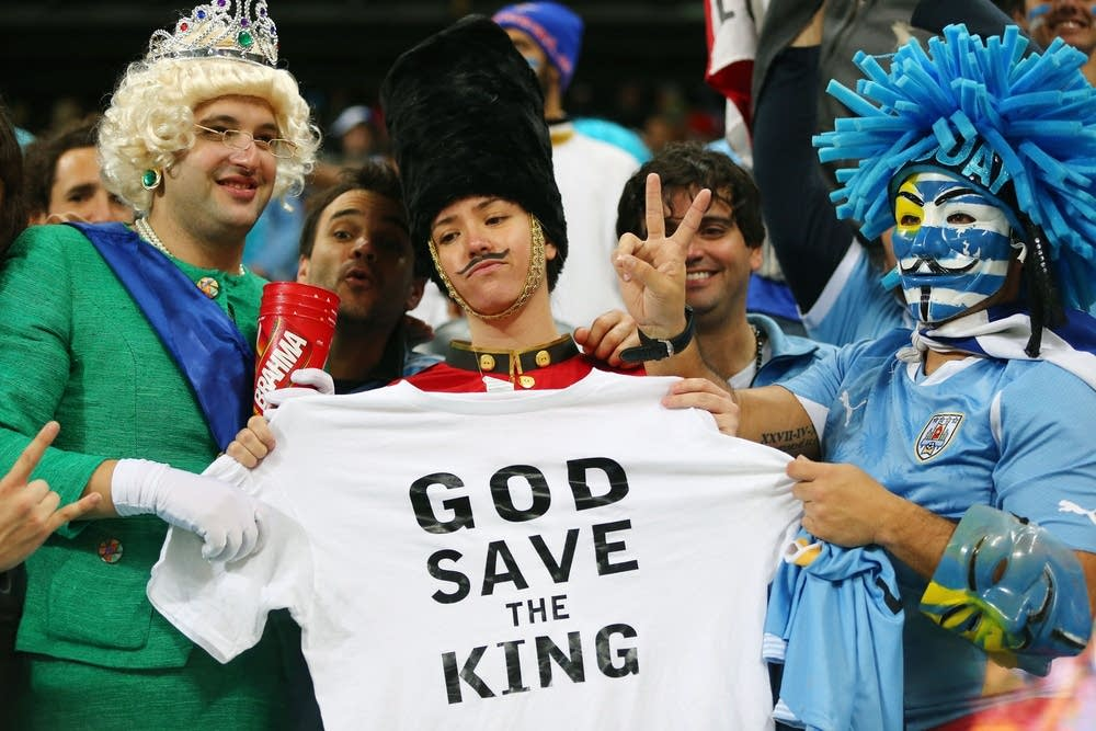 English fans pose during the 2014 FIFA World Cup
