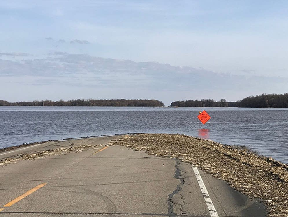 State Highway 220 near Oslo, Minn., remains closed by flood waters