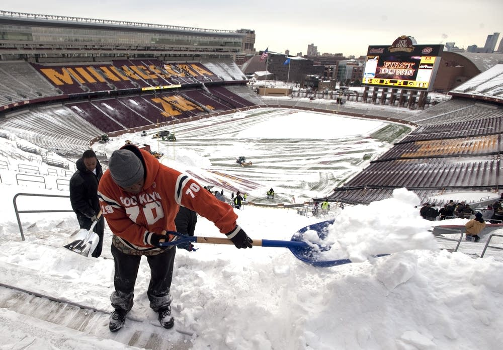 Shoveling at TCF Stadium