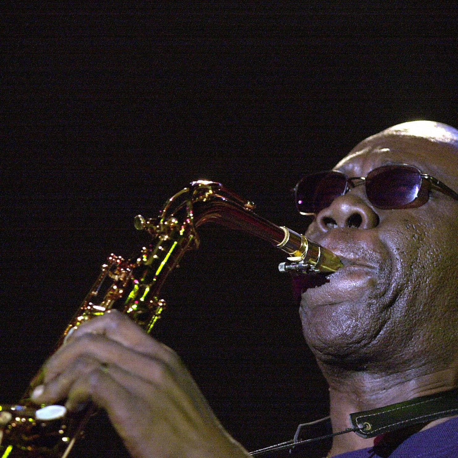 Manu Dibango performs in Tunisia, 2004.