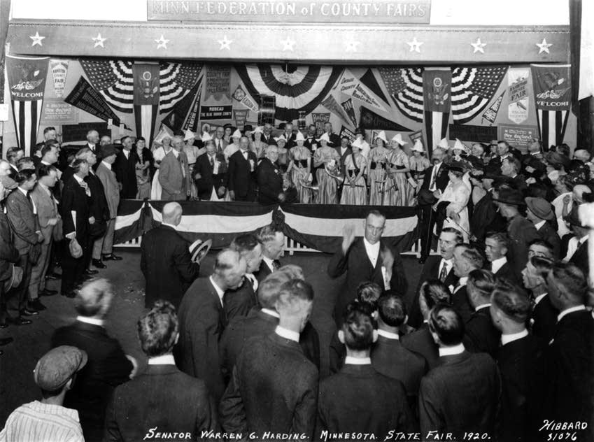 Warren G. Harding visits the Minn. State Fair as a candidate in 1920.