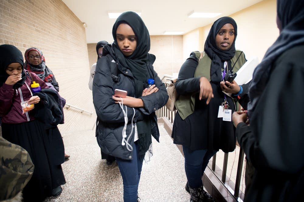 Zanib Mohamed, right, a student advocate at JFK