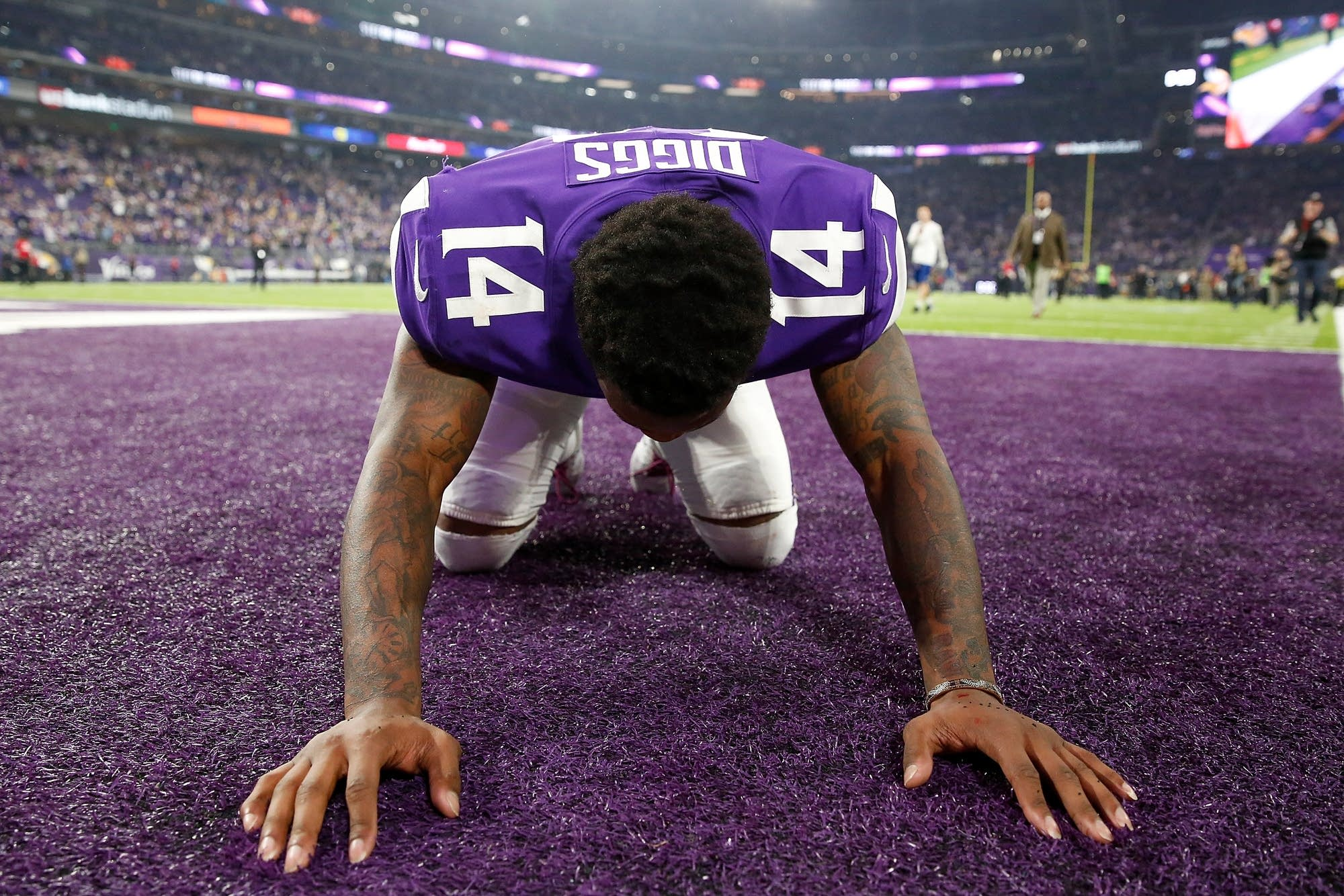 Stefon Diggs celebrates after defeating the New Orleans Saints.