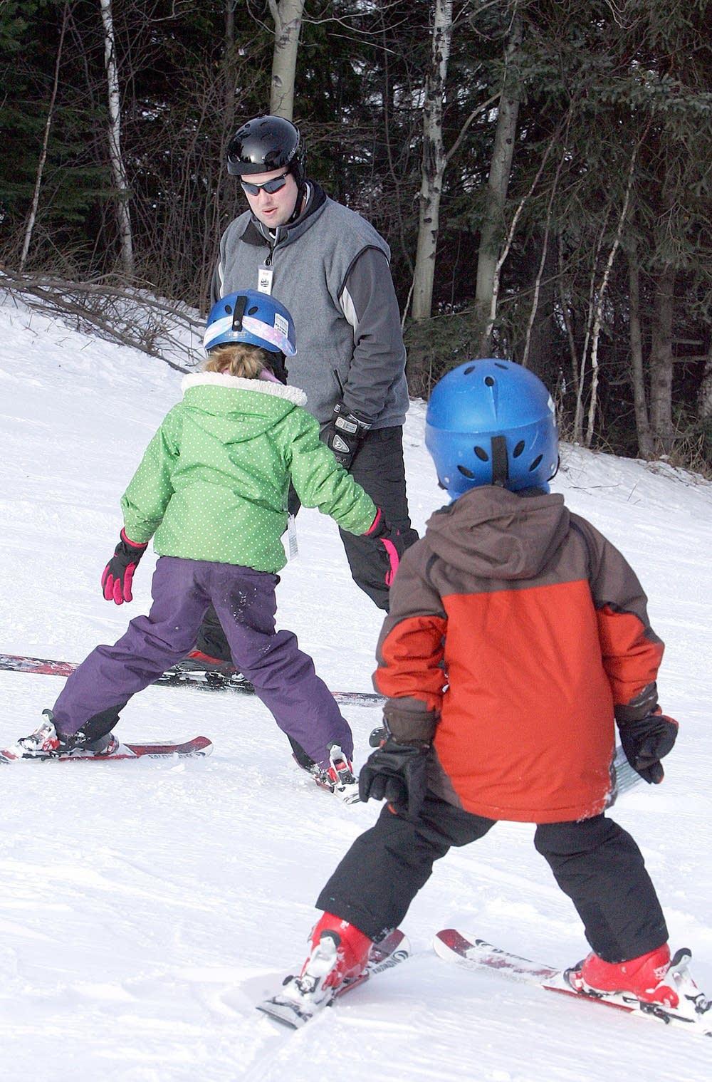 Wearing ski helmets