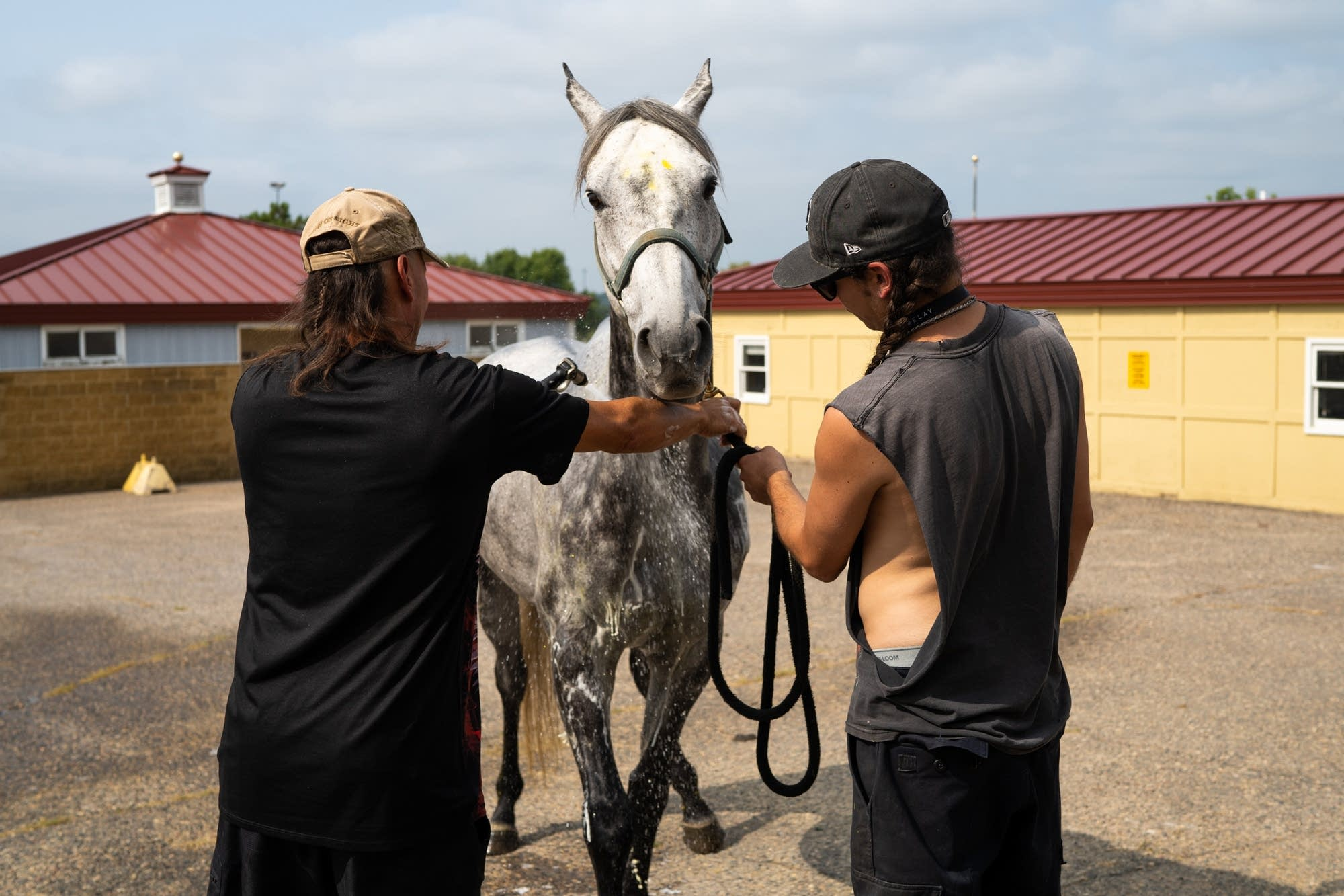 Tim Brown and his son Chandler Brown, right, wash one of their racehorses.
