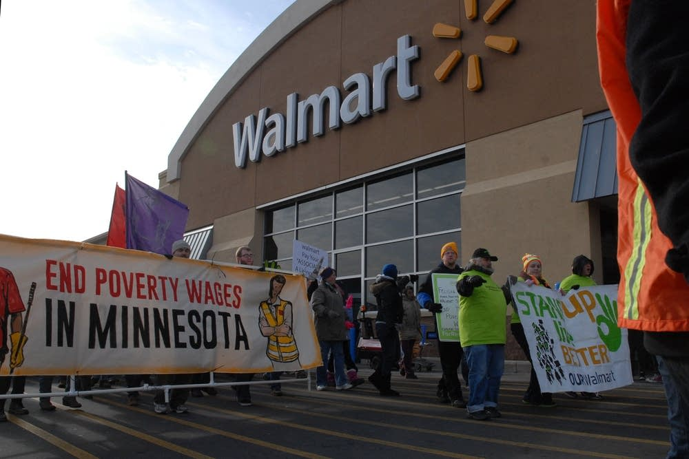 Protesters outside the St. Paul Walmart store