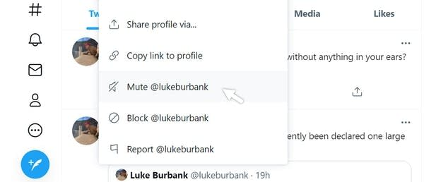 "Close-up of Twitter menu with ""Mute Luke Burbank"" selected"