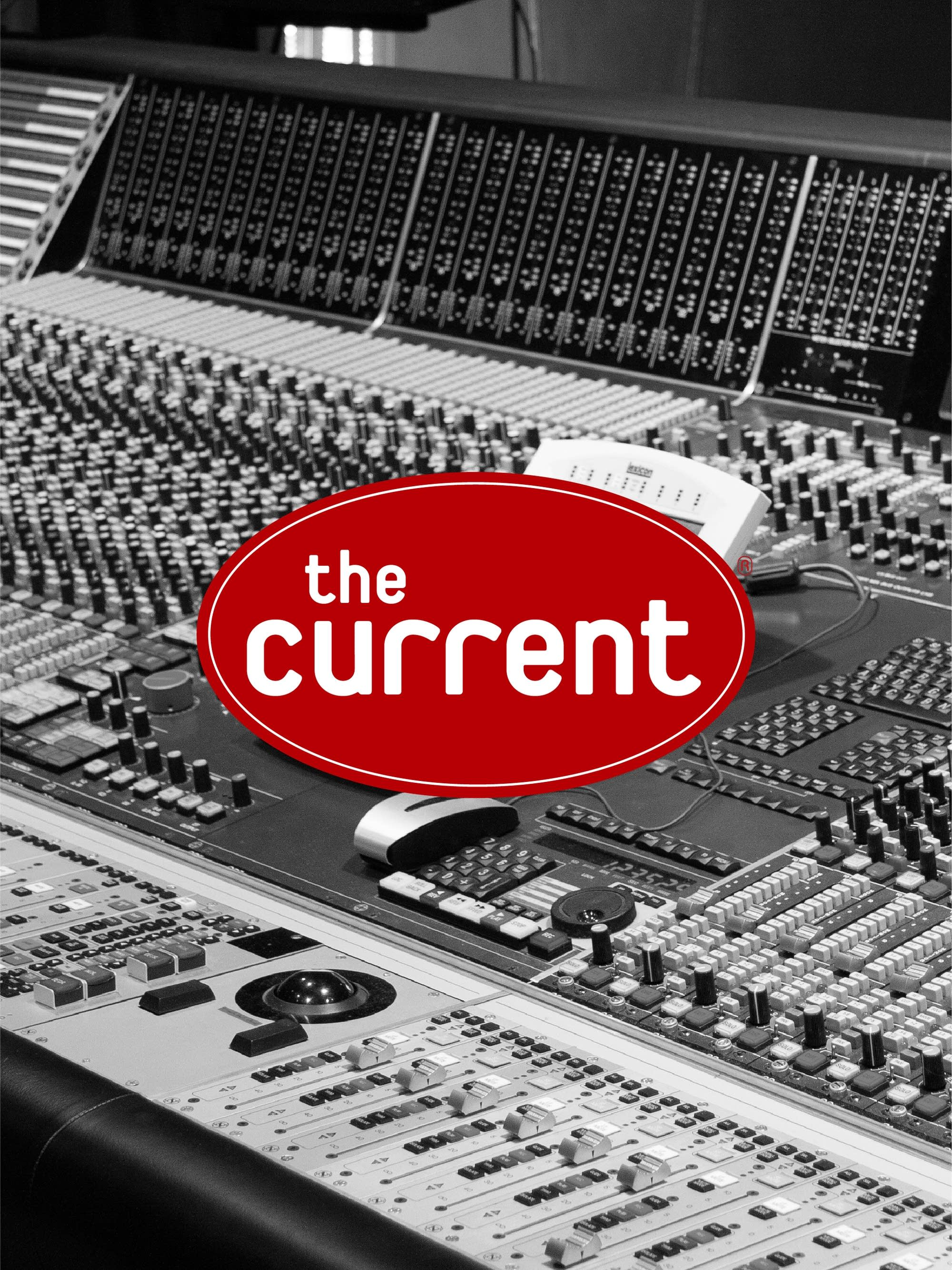 Mixing board with The Current logo.