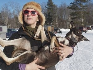 Blair Braverman and one of her sled dogs