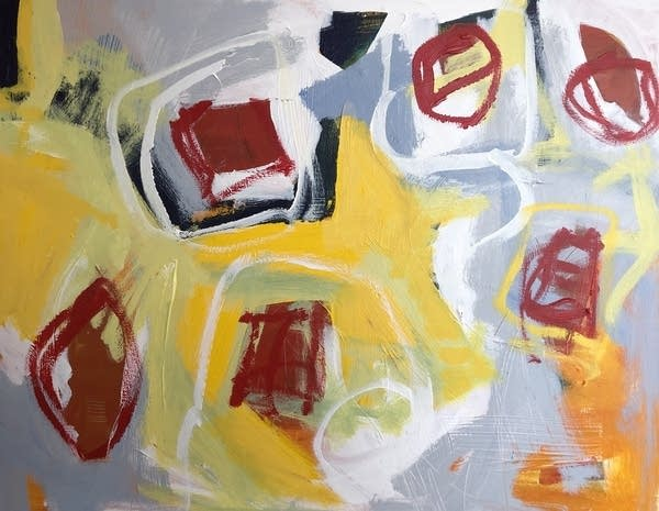 abstract painting with red squares and circles on a yellow backdrop