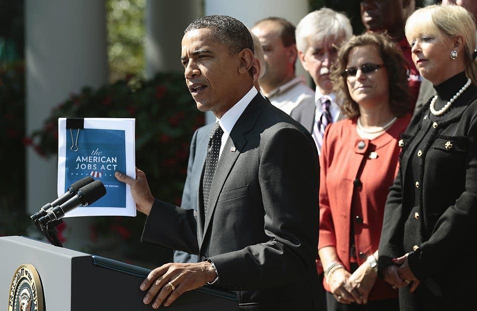 Obama unveils jobs bill