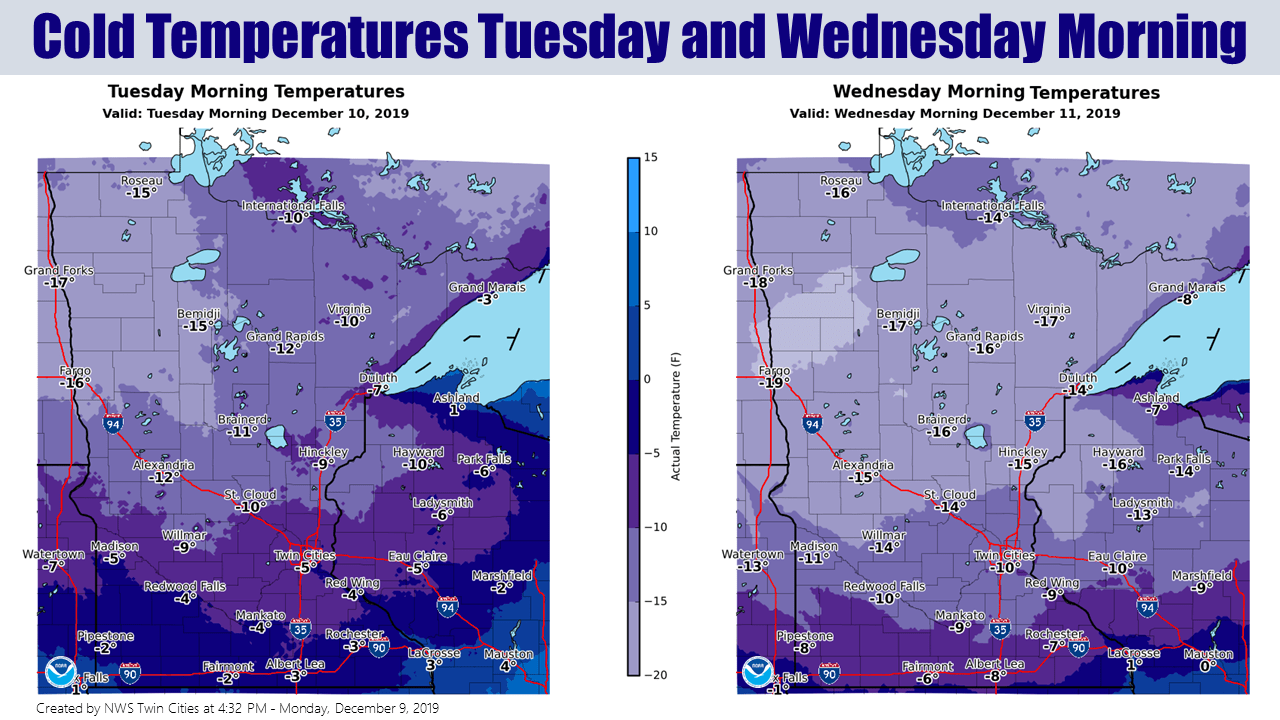 Forecast low temperatures Tuesday and Wednesday mornings