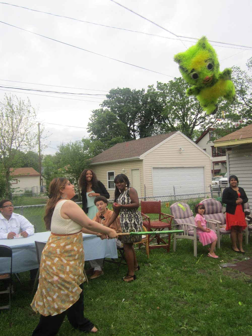 Graduation party with a pinata