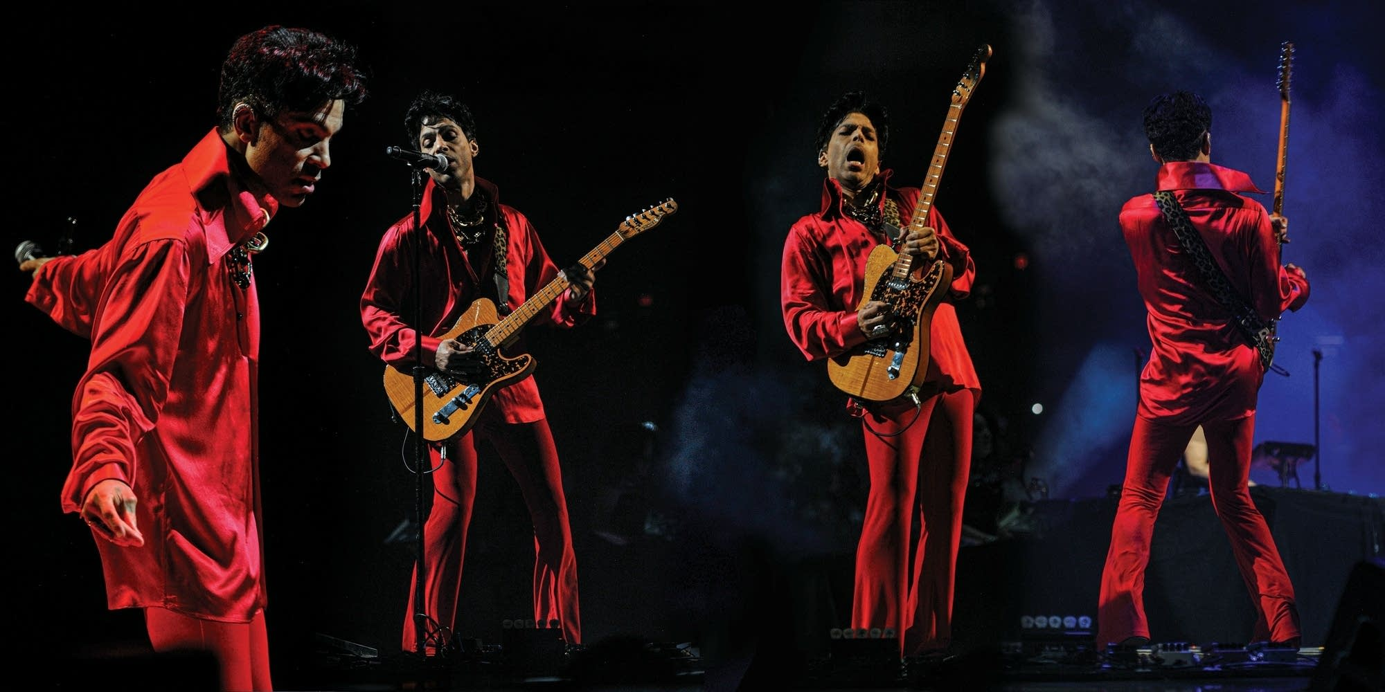 Composite photo of Prince in various poses onstage.