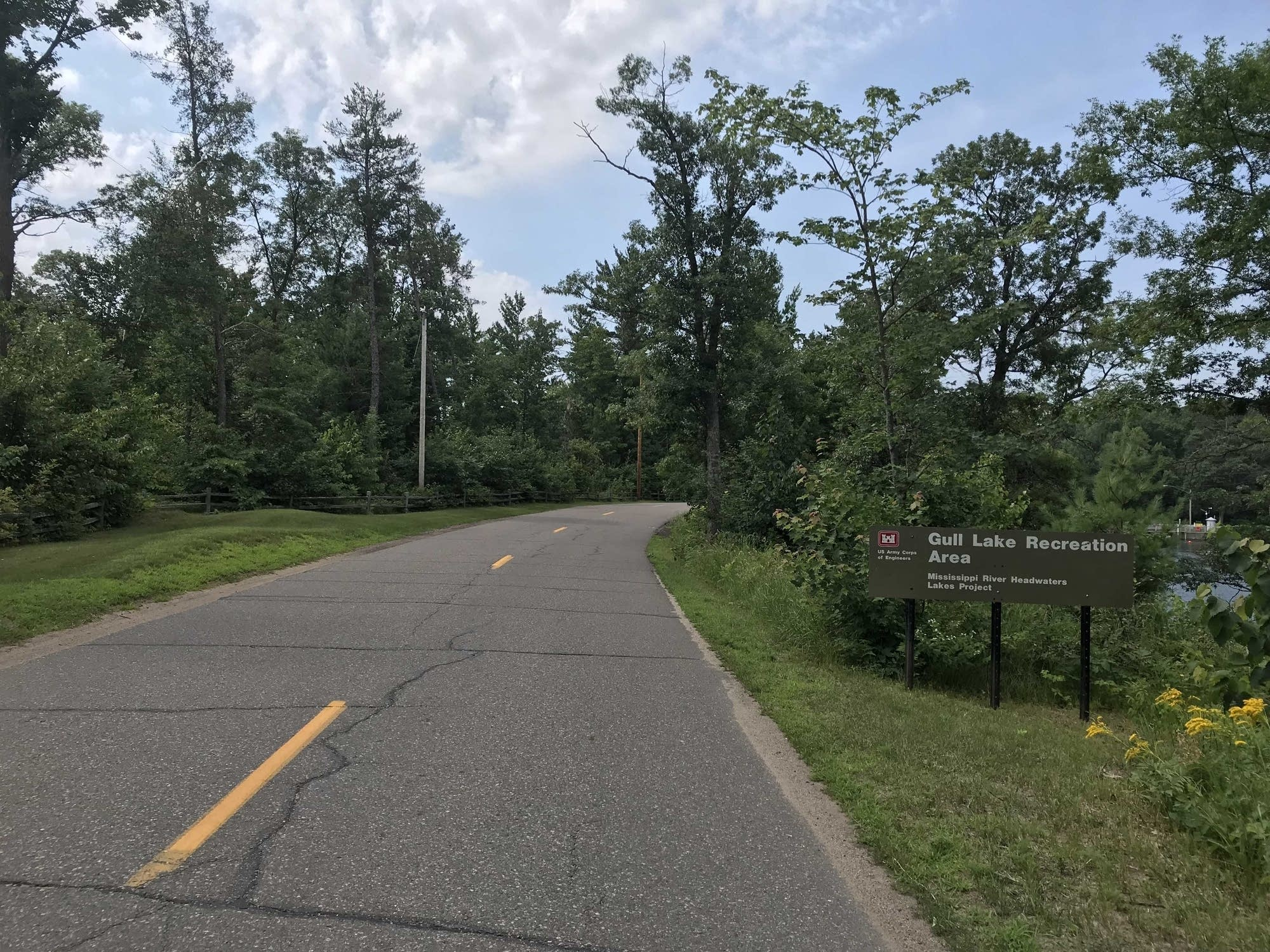 A stretch of road next to a Native American burial ground near Gull Lake
