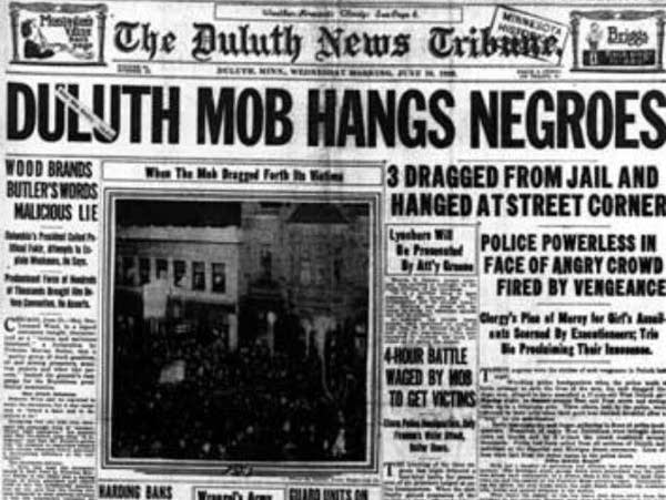 Duluth News Tribune, June 16, 1920, 'Duluth Mob Hangs Negroes.'