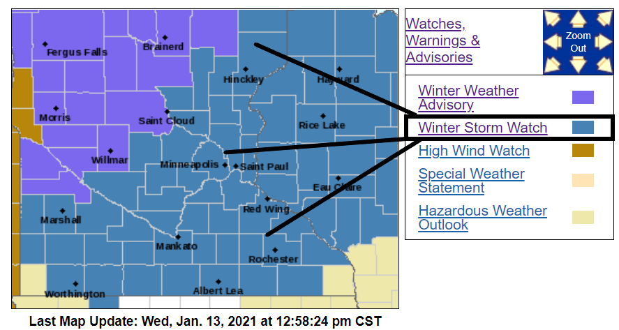 Winter storm watches and advisories