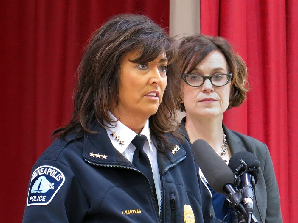 Harteau and Hodges speak to the media.