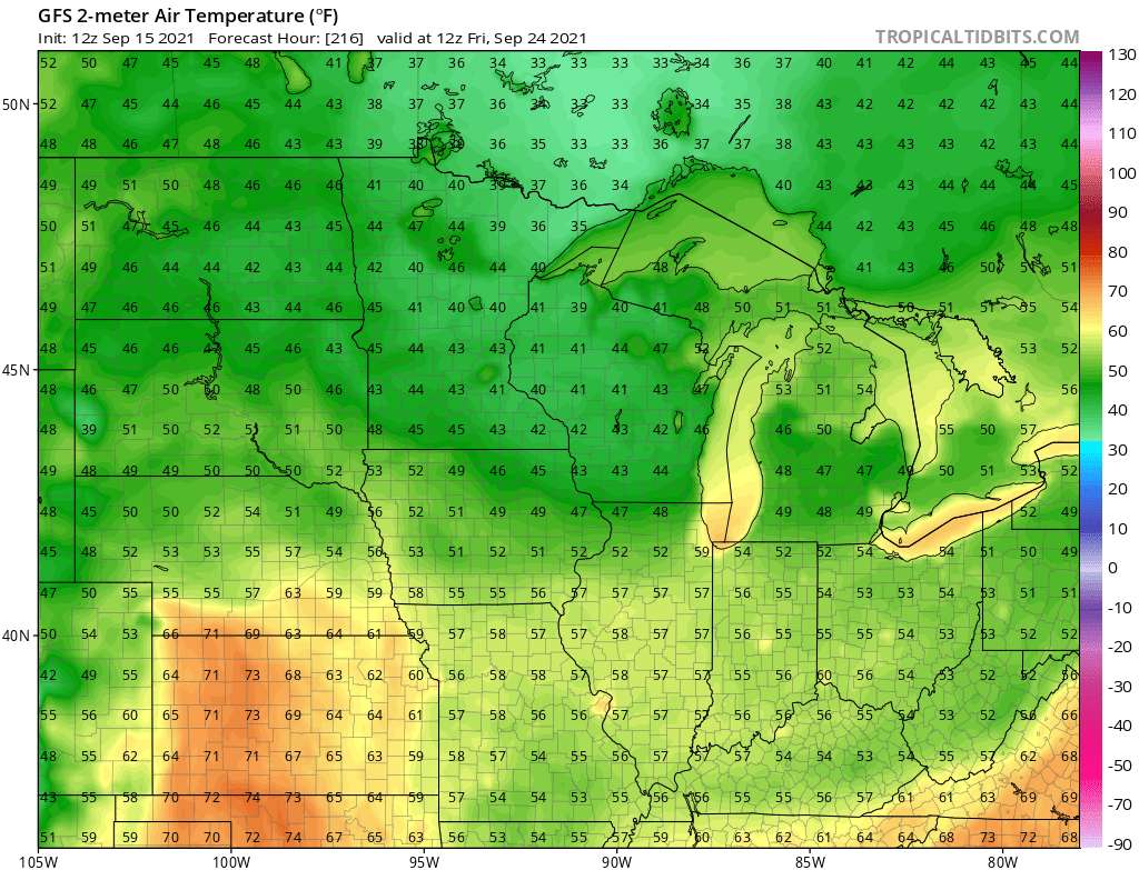 NOAA GFS temperature forecast for 7 am Friday September 24