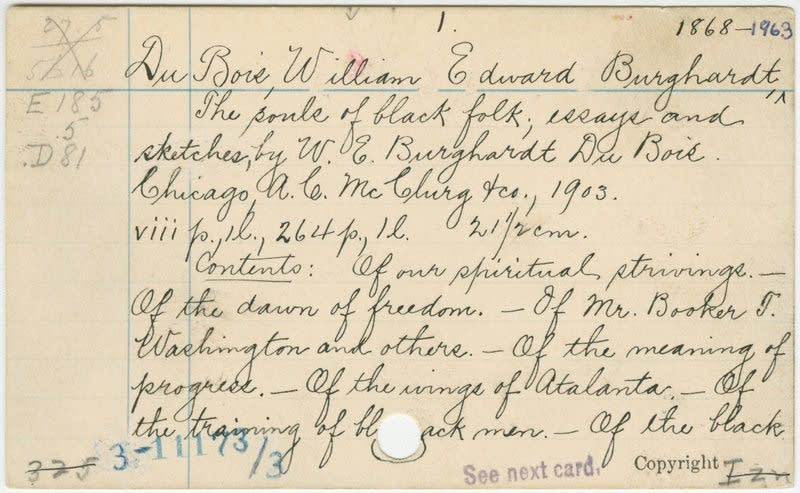 The Library of Congress card for a W.E.B. Du Bois book