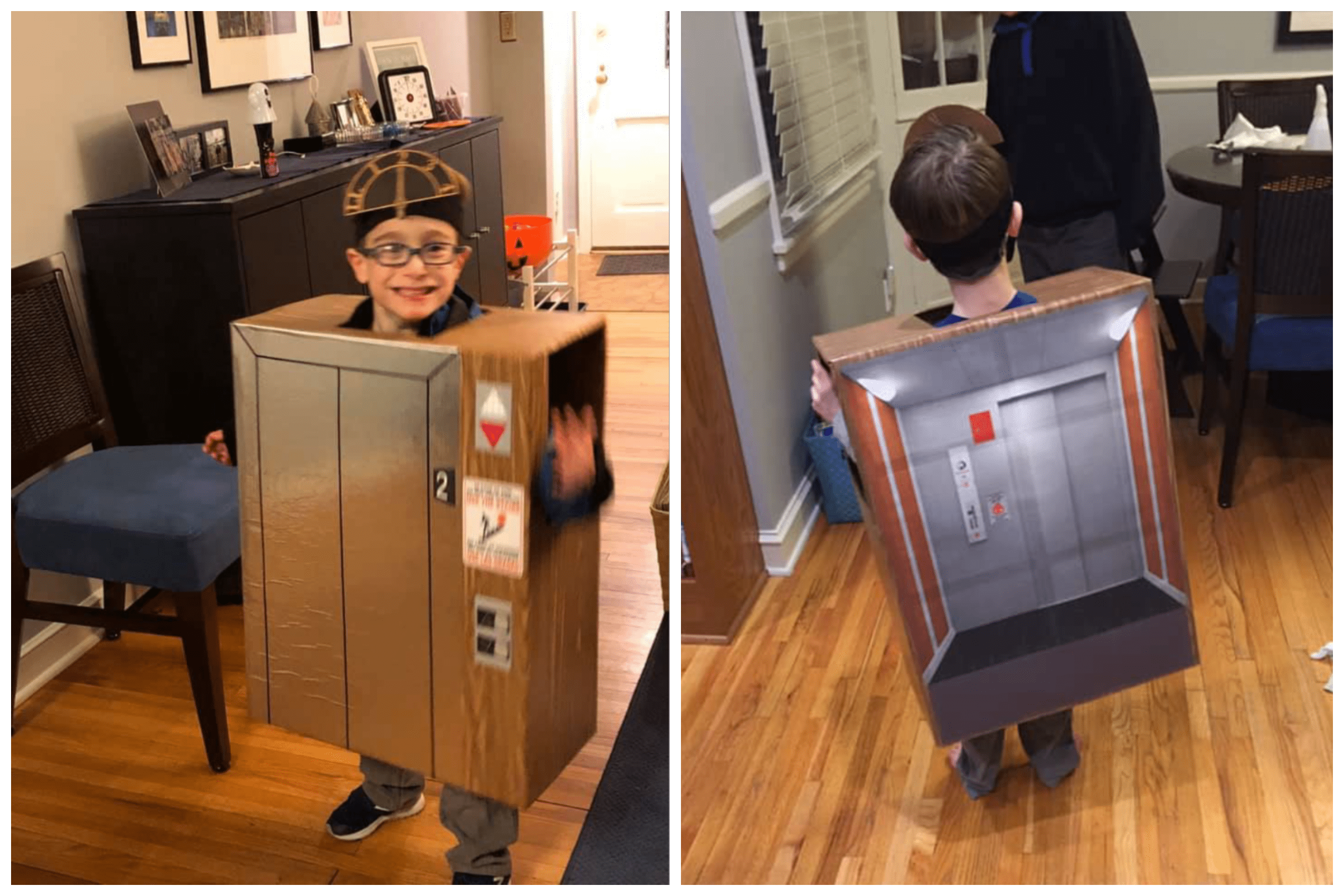 A child dressed in a box made to look like an elevator.