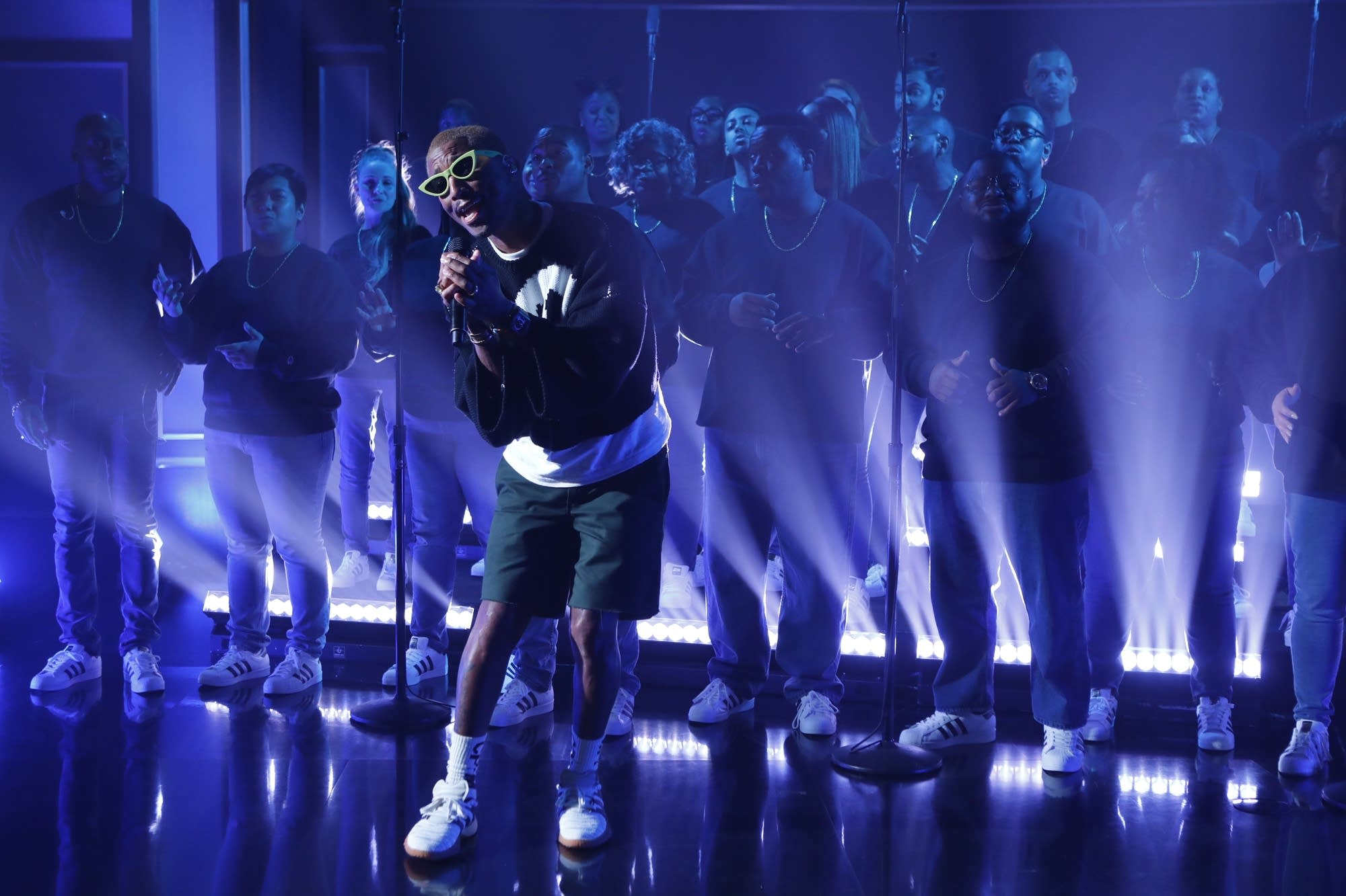 Pharrell Williams on 'Jimmy Kimmel Live!' on ABC