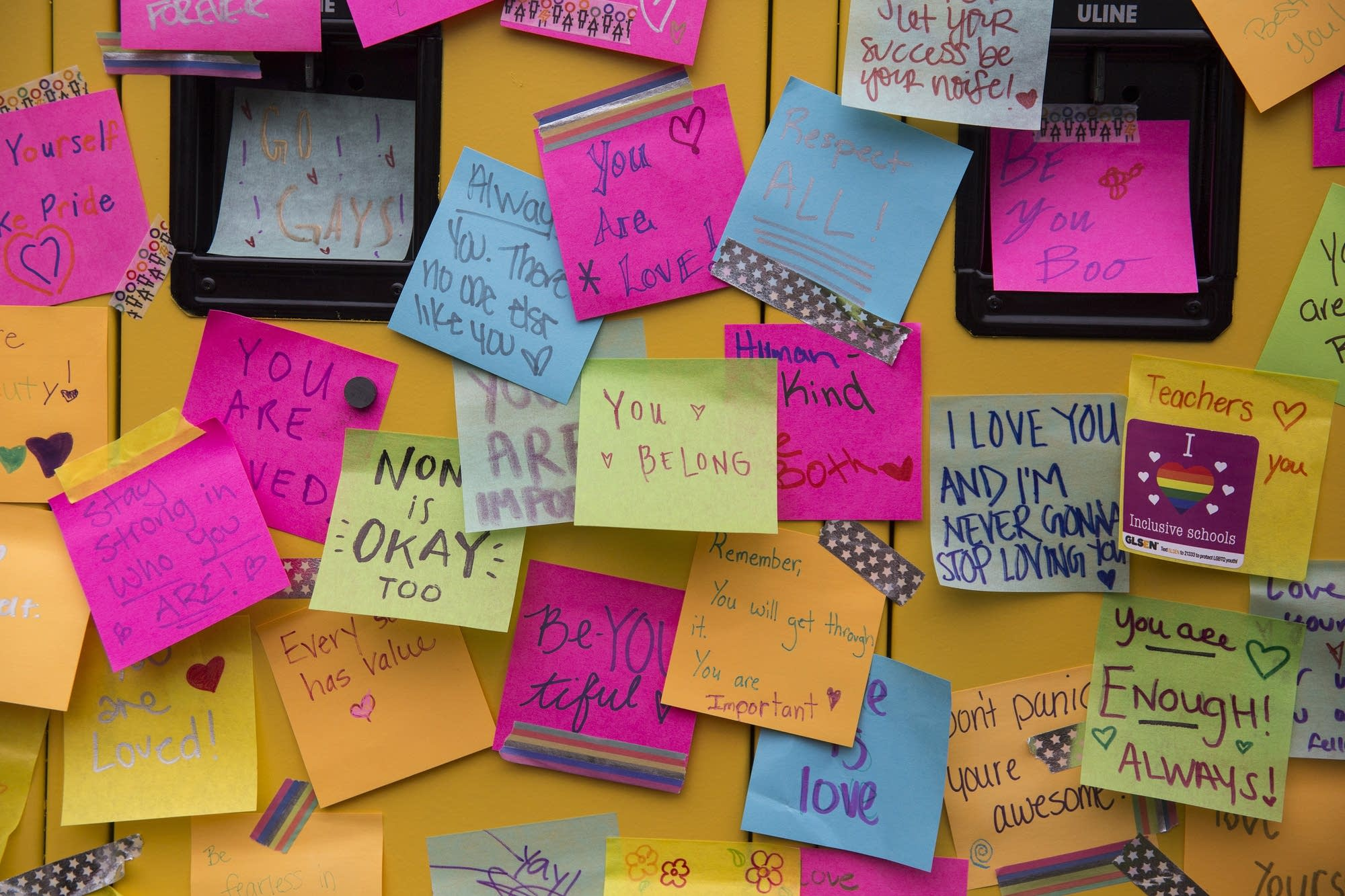 An interactive installation allowed people to leave notes of support.