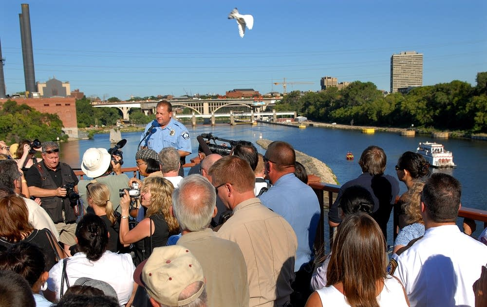 A dove flies above bridge ceremony