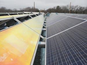 Part of a community solar garden in Rockford, Minn.
