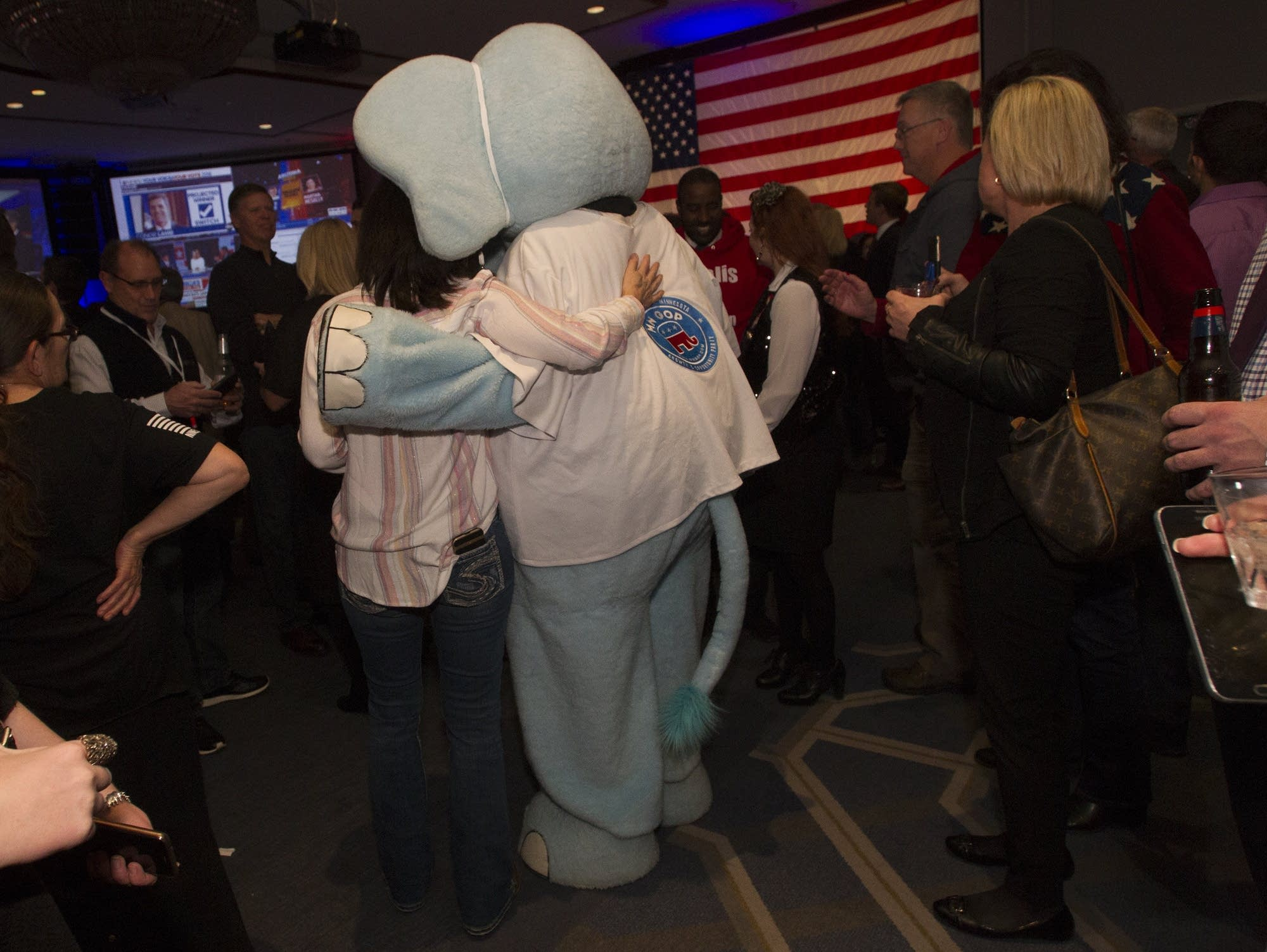 Republicans gather to watch the midterm election results.
