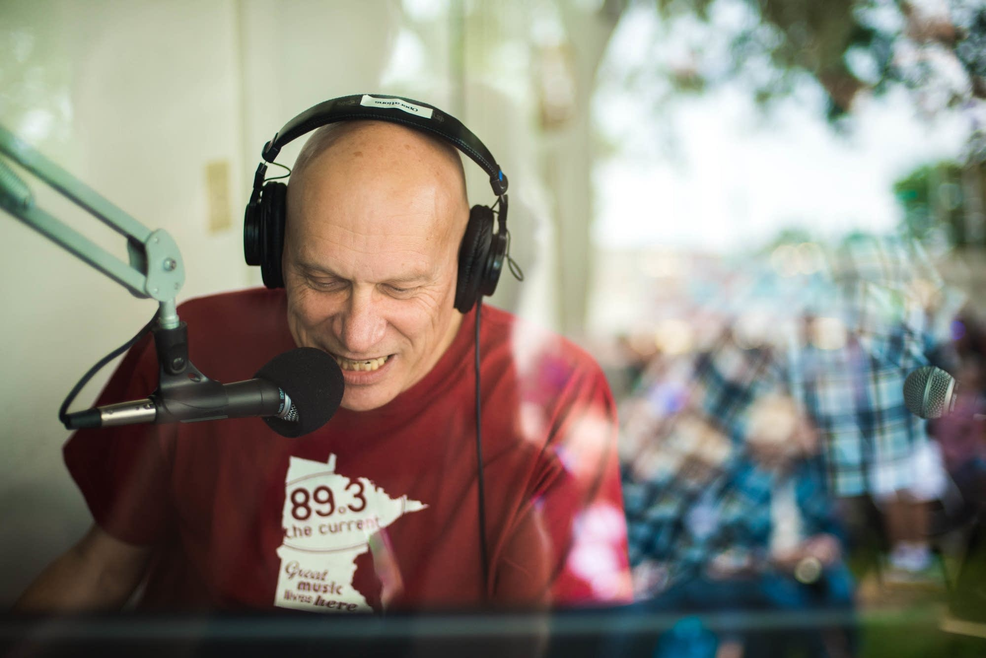 Mark Wheat at the MPR booth at the Minnesota State Fair