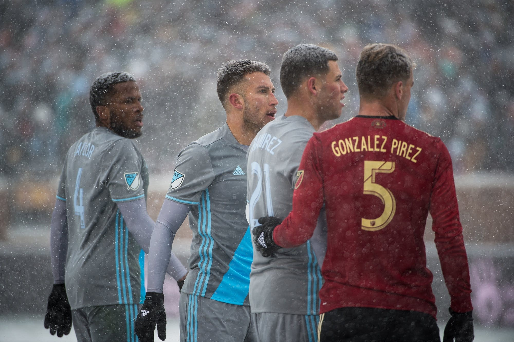 Minnesota United and Atlanta United FC face off in the snow.