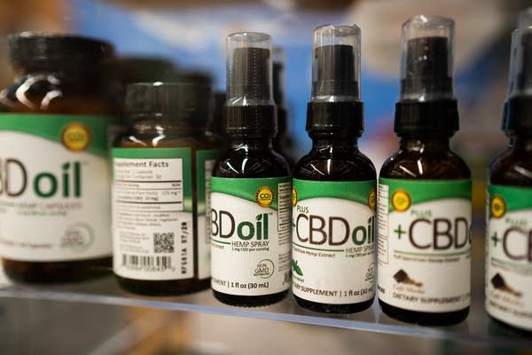 Bottles of CBD Oil sit for sale inside the Mississippi Market Co-op.