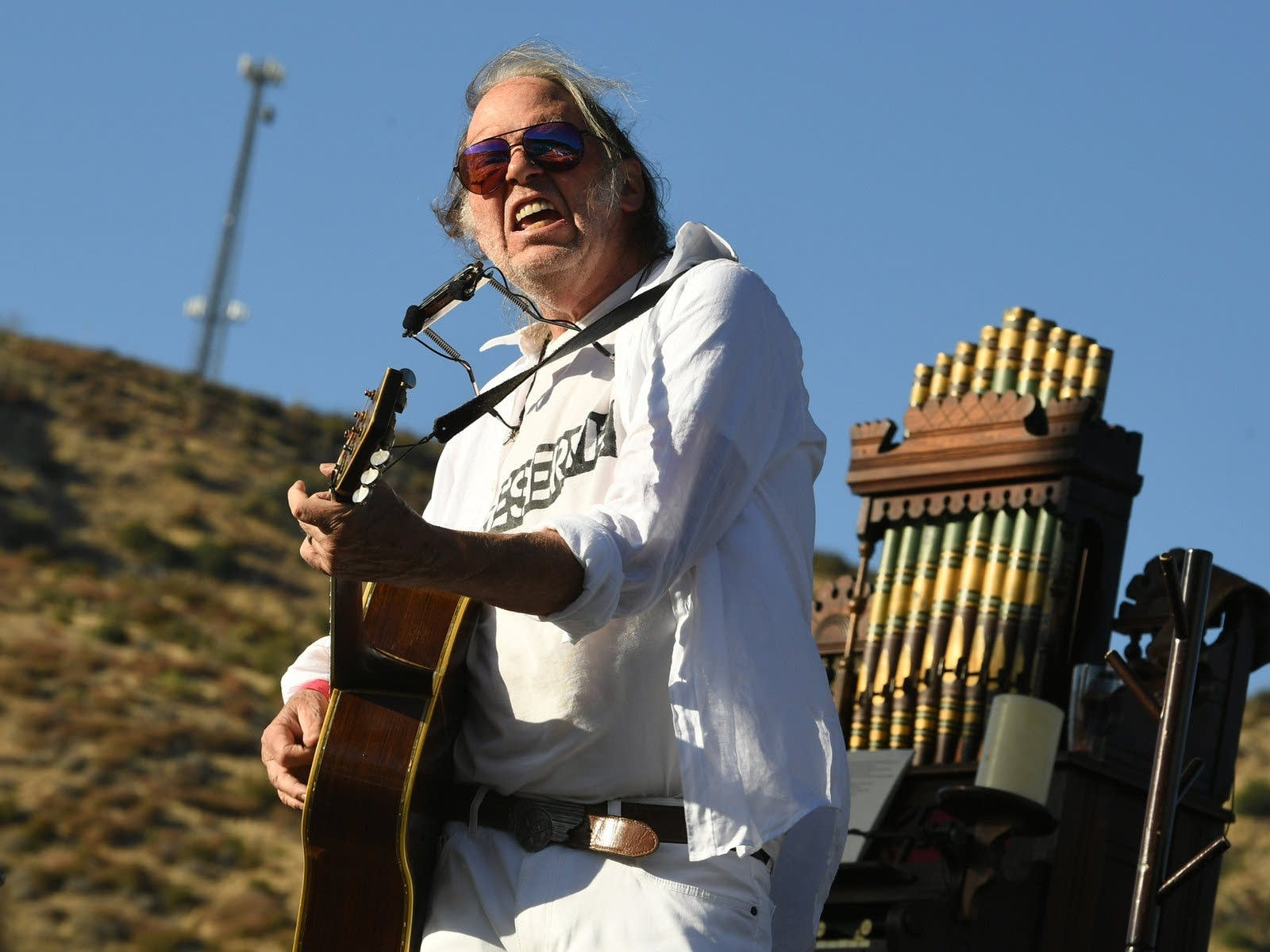 Neil Young performing in California.