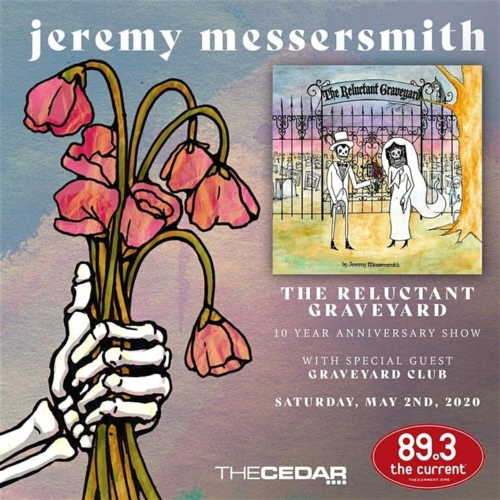 Jeremy messersmith 'Reluctant Graveyard' anniversary show flyer.